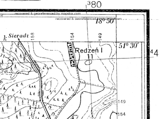 Reduced fragment of topographic map pl--wig--025k--P43S27-C--(1933)--N051-30_E018-40--N051-25_E018-50