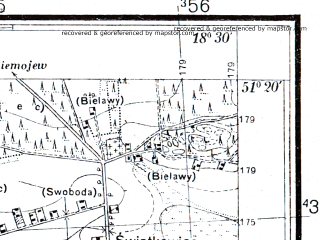Reduced fragment of topographic map pl--wig--025k--P43S27-G--(1933)--N051-20_E018-20--N051-15_E018-30