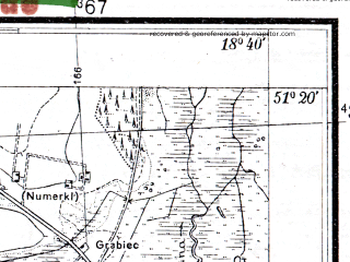 Reduced fragment of topographic map pl--wig--025k--P43S27-H--(1933)--N051-20_E018-30--N051-15_E018-40