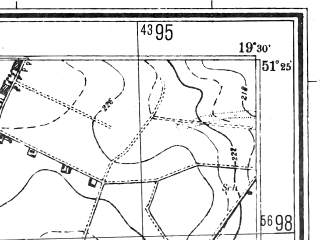 Reduced fragment of topographic map pl--wig--025k--P43S29-D--(1944)--N051-25_E019-20--N051-20_E019-30; towns and cities Belchatow