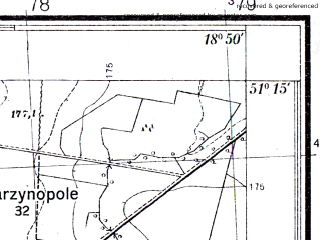 Reduced fragment of topographic map pl--wig--025k--P44S27-C--(1933)--N051-15_E018-40--N051-10_E018-50