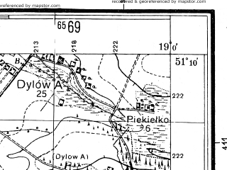 Reduced fragment of topographic map pl--wig--025k--P44S28-D--(1944)--N051-10_E018-50--N051-05_E019-00; towns and cities Dzialoszyn