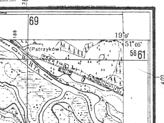 Reduced fragment of topographic map pl--wig--025k--P44S28-G--(1944)--N051-05_E018-50--N051-00_E019-00