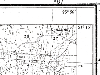 Reduced fragment of topographic map pl--wig--025k--P44S41-C--(1938)--N051-15_E025-40--N051-10_E025-50