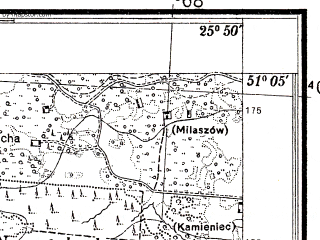 Reduced fragment of topographic map pl--wig--025k--P44S41-I--(1938)--N051-05_E025-40--N051-00_E025-50; towns and cities Rudniki