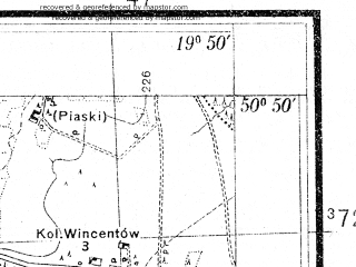 Reduced fragment of topographic map pl--wig--025k--P45S29-I--(1937)--N050-50_E019-40--N050-45_E019-50; towns and cities Koniecpol