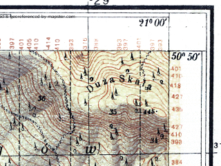 Reduced fragment of topographic map pl--wig--025k--P45S32-G--(1934)--N050-50_E020-50--N050-45_E021-00