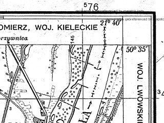 Reduced fragment of topographic map pl--wig--025k--P46S33-H--(1938)--N050-35_E021-30--N050-30_E021-40; towns and cities Tarnobrzeg
