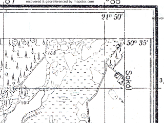 Reduced fragment of topographic map pl--wig--025k--P46S33-I--(1941)--N050-35_E021-40--N050-30_E021-50
