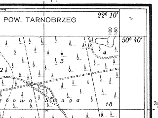 Reduced fragment of topographic map pl--wig--025k--P46S34-E--(1938)--N050-40_E022-00--N050-35_E022-10; towns and cities Rozwadow