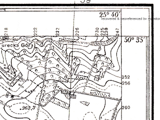 Reduced fragment of topographic map pl--wig--025k--P46S41-H--(1939)--N050-35_E025-30--N050-30_E025-40; towns and cities Mlinov