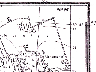 Reduced fragment of topographic map pl--wig--025k--P46S42-C--(1934)--N050-45_E026-10--N050-40_E026-20; towns and cities Gorodok, Kustin
