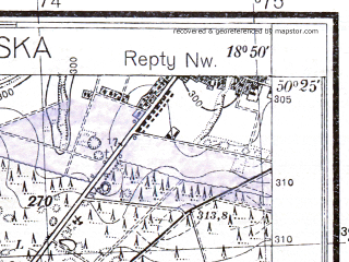 Reduced fragment of topographic map pl--wig--025k--P47S27-F--(1933)--N050-25_E018-40--N050-20_E018-50