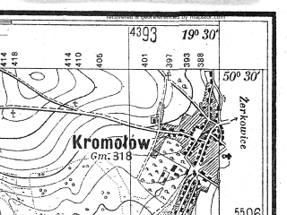 Reduced fragment of topographic map pl--wig--025k--P47S29-A--(1944)--N050-30_E019-20--N050-25_E019-30; towns and cities Zawiercie