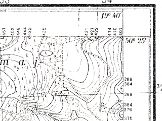 Reduced fragment of topographic map pl--wig--025k--P47S29-E--(1932)--N050-25_E019-30--N050-20_E019-40