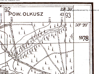Reduced fragment of topographic map pl--wig--025k--P47S29-G--(1931)--N050-20_E019-20--N050-15_E019-30; towns and cities Slawkow