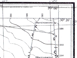 Reduced fragment of topographic map pl--wig--025k--P47S30-A--(1936)--N050-30_E019-50--N050-25_E020-00