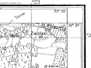 Reduced fragment of topographic map pl--wig--025k--P47S34-C--(1929)--N050-30_E022-10--N050-25_E022-20; towns and cities Rudnik