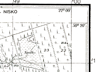 Reduced fragment of topographic map pl--wig--025k--P47S34-G--(1943)--N050-20_E021-50--N050-15_E022-00