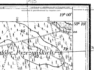 Reduced fragment of topographic map pl--wig--025k--P48S28-D--(1933)--N050-10_E018-50--N050-05_E019-00; towns and cities Tychy