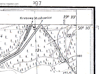 Reduced fragment of topographic map pl--wig--025k--P48S28-E--(1933)--N050-10_E019-00--N050-05_E019-10