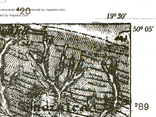 Reduced fragment of topographic map pl--wig--025k--P48S29-G--(1939)--N050-05_E019-20--N050-00_E019-30