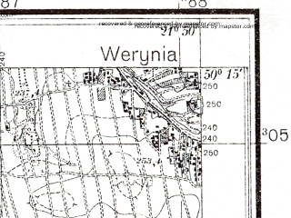 Reduced fragment of topographic map pl--wig--025k--P48S33-C--(1941)--N050-15_E021-40--N050-10_E021-50; towns and cities Kolbuszowa