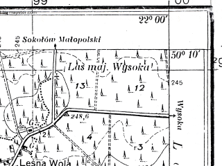 Reduced fragment of topographic map pl--wig--025k--P48S34-D--(1935)--N050-10_E021-50--N050-05_E022-00