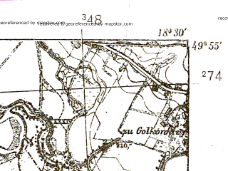 Reduced fragment of topographic map pl--wig--025k--P49S27-D--(1938)--N049-55_E018-20--N049-50_E018-30; towns and cities Orlova, Bohumin