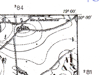 Reduced fragment of topographic map pl--wig--025k--P49S28-A--(1939)--N050-00_E018-50--N049-55_E019-00; towns and cities Pszczyna