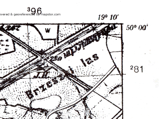 Reduced fragment of topographic map pl--wig--025k--P49S28-B--(1939)--N050-00_E019-00--N049-55_E019-10; towns and cities Brzescze