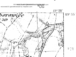 Reduced fragment of topographic map pl--wig--025k--P49S28-F--(1939)--N049-55_E019-10--N049-50_E019-20; towns and cities Kety