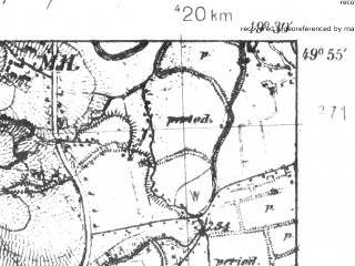 Reduced fragment of topographic map pl--wig--025k--P49S29-D--(1939)--N049-55_E019-20--N049-50_E019-30; towns and cities Andrychow, Wadowice