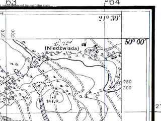 Reduced fragment of topographic map pl--wig--025k--P49S33-A--(1936)--N050-00_E021-20--N049-55_E021-30