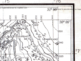Reduced fragment of topographic map pl--wig--025k--P49S33-B--(1938)--N050-00_E021-30--N049-55_E021-40