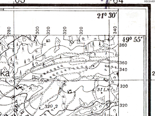 Reduced fragment of topographic map pl--wig--025k--P49S33-D--(1936)--N049-55_E021-20--N049-50_E021-30