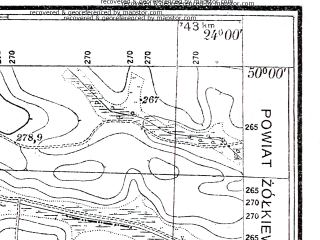 Reduced fragment of topographic map pl--wig--025k--P49S38-A--(1930)--N050-00_E023-50--N049-55_E024-00; towns and cities Dubrovitsa, Zashkov