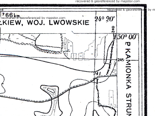 Reduced fragment of topographic map pl--wig--025k--P49S38-C--(1931)--N050-00_E024-10--N049-55_E024-20; towns and cities Remenev, Zhovtantsy
