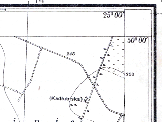 Reduced fragment of topographic map pl--wig--025k--P49S40-A--(1934)--N050-00_E024-50--N049-55_E025-00; towns and cities Kuty, Olesko, Podgortsy
