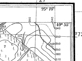 Reduced fragment of topographic map pl--wig--025k--P49S40-E--(1934)--N049-55_E025-00--N049-50_E025-10