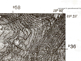 Reduced fragment of topographic map pl--wig--025k--P50S27-H--(1938)--N049-35_E018-30--N049-30_E018-40