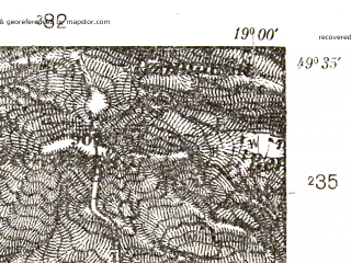 Reduced fragment of topographic map pl--wig--025k--P50S28-G--(1938)--N049-35_E018-50--N049-30_E019-00