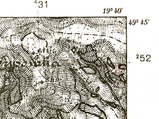 Reduced fragment of topographic map pl--wig--025k--P50S29-B--(1939)--N049-45_E019-30--N049-40_E019-40; towns and cities Sucha Beskidzka