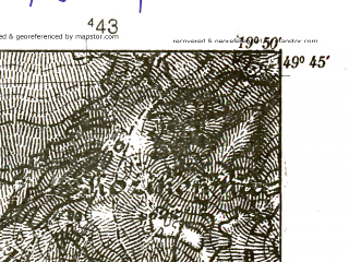 Reduced fragment of topographic map pl--wig--025k--P50S29-C--(1939)--N049-45_E019-40--N049-40_E019-50