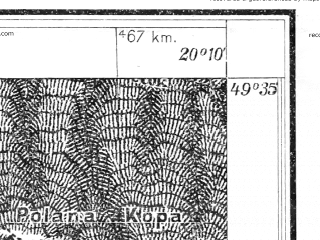 Reduced fragment of topographic map pl--wig--025k--P50S30-H--(1931)--N049-35_E020-00--N049-30_E020-10