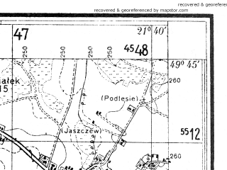 Reduced fragment of topographic map pl--wig--025k--P50S33-B--(1938)--N049-45_E021-30--N049-40_E021-40