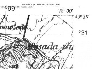 Reduced fragment of topographic map pl--wig--025k--P50S34-G--(1939)--N049-35_E021-50--N049-30_E022-00; towns and cities Rymanow