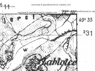 Reduced fragment of topographic map pl--wig--025k--P50S34-H--(1939)--N049-35_E022-00--N049-30_E022-10; towns and cities Zarszyn
