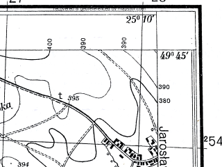 Reduced fragment of topographic map pl--wig--025k--P50S40-B--(1934)--N049-45_E025-00--N049-40_E025-10; towns and cities Mlynovtsy