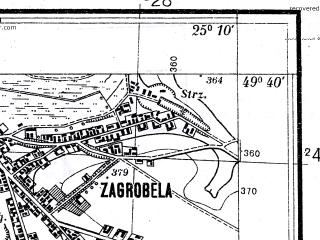 Reduced fragment of topographic map pl--wig--025k--P50S40-E--(1934)--N049-40_E025-00--N049-35_E025-10; towns and cities Godov, Podgaychiki, Zborov